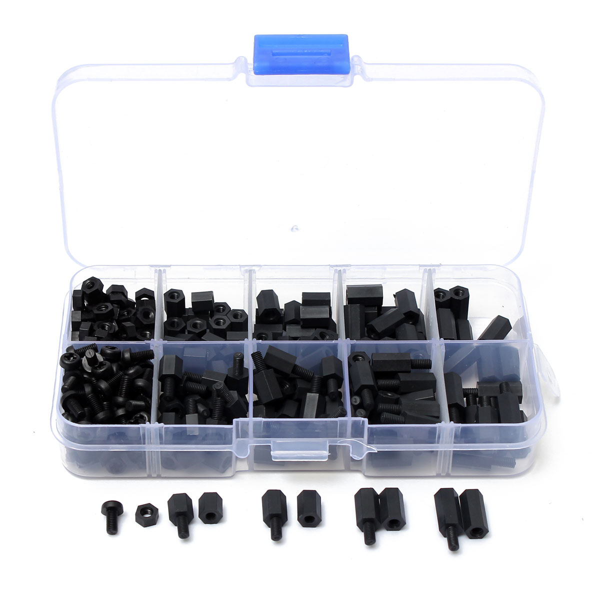 300pcs M3 Nylon Black Hex Screw Nut Spacer Stand-off Varied Length Assortment Kit Box 200pcs m2 5 2 5mm brass standoff spacer m2 5 male x female thread long 6mm with hex nuts assortment kit