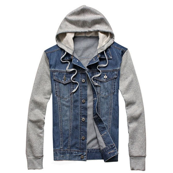 Plus Size Mens Denim Jean Cotton Blend Patchwork Hooded Jacket new promotion newborn photographic background christmas vinyl photography backdrops 200cm 300cm photo studio props for baby l823