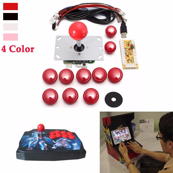 Game DIY Arcade Set Kits Replacement Parts USB Encoder to PC Joystick and Buttons gaming arcade console usb joystick arcade buttons kit double joystick console with flash light support hdmi vga
