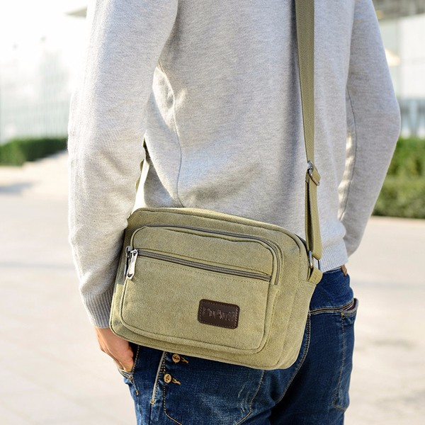 Men Canvas Casual Crossbody Bag Multi-Pocket Shoulder Bag
