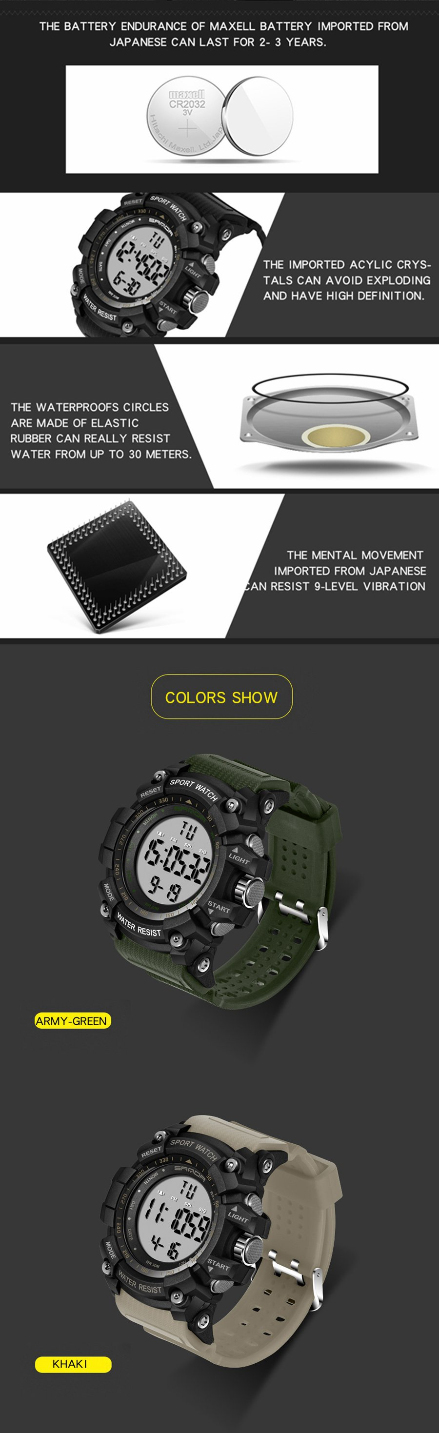 SANDA 359 Military Waterproof Men Digital Watch