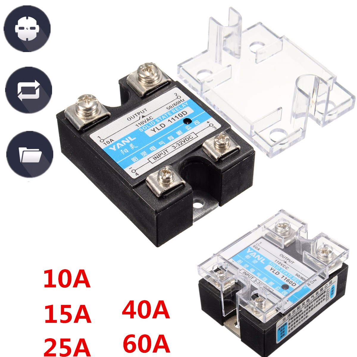 Buy Solid State Relay SSR DC-DC 25A 3-32VDC 5-220VDC 10A 15A 40A 60A JGX-1