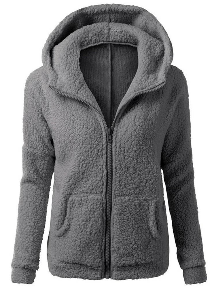 S-5XL Women Casual Pure Color Fleece Warm Winter Zipper Hooded Coats