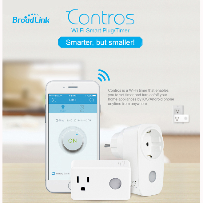 BroadLink SP3 SPcc Contros Mini WiFi Smart Home Socket Timing Switch Plug Timer Wireless Remote Controller от Banggood INT