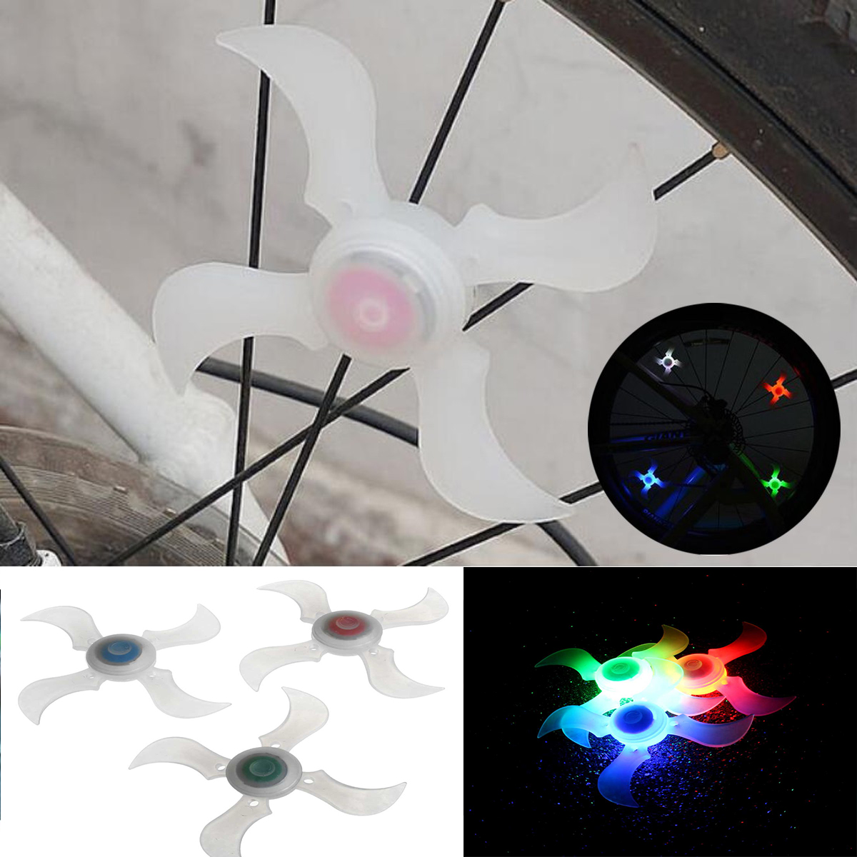 Bike Bicycle Spoke Wheel Light Lamp Safety LED Tyre Light Silicone Flashing Light 3 Modes