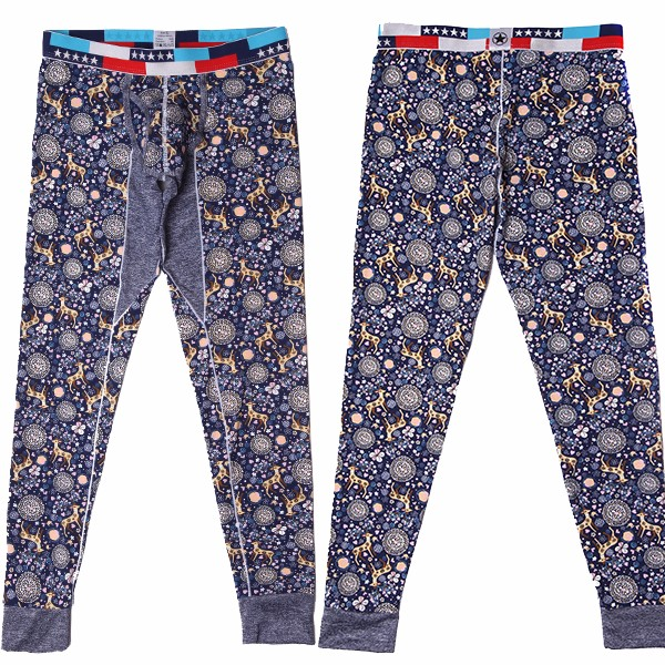 Mens Cotton Slim Warm Pants Qiuku Leggings Cute Sexy Fashion Deer Pattern Long John Bottoms