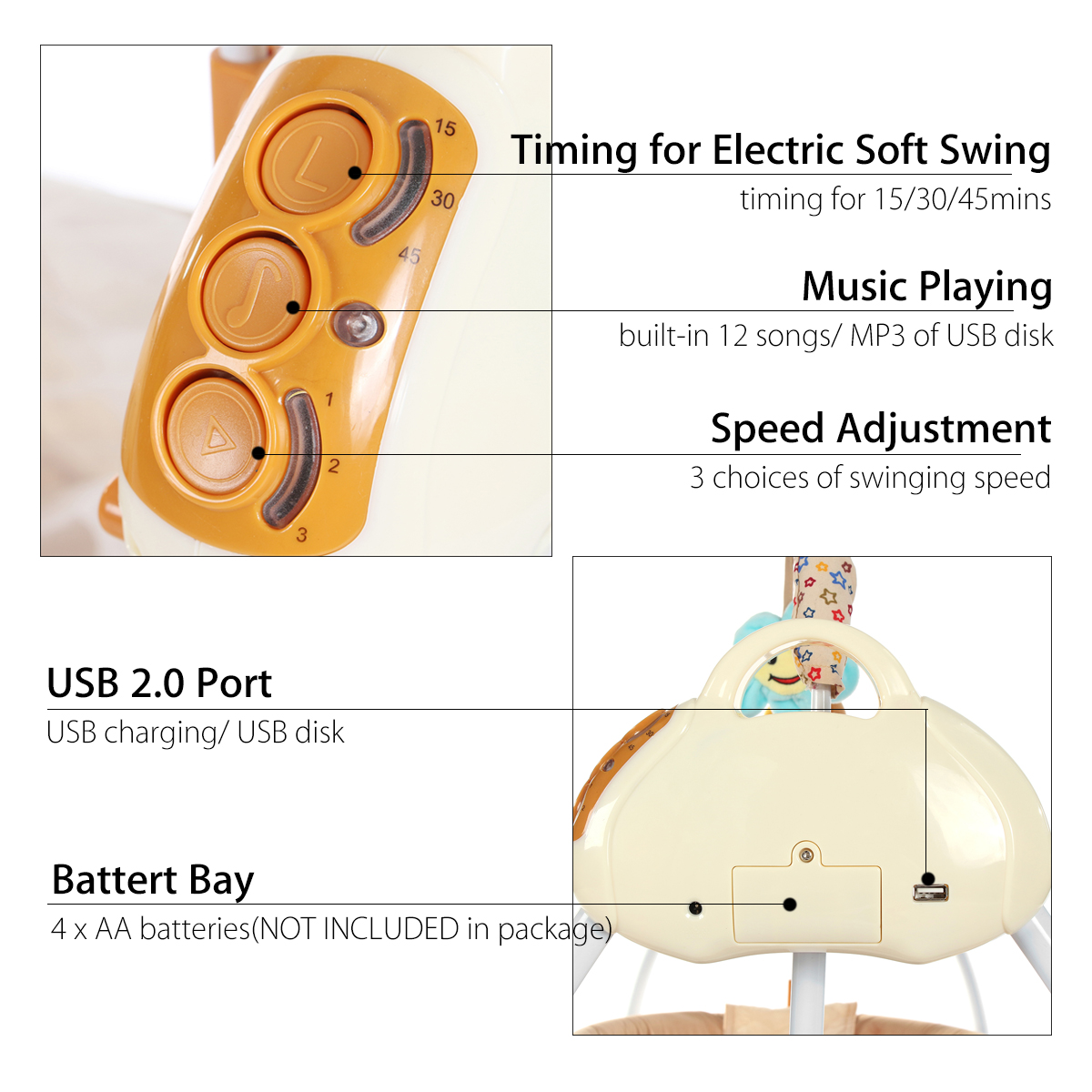 Smart Electric Baby Crib Music Cradle Infant Rocker Auto-Swing Sleep Bed Baby Bedding Remote Control