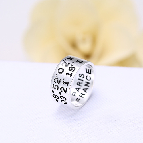 S925 Silver Carving Widened Longitude Latitude Rings For Women