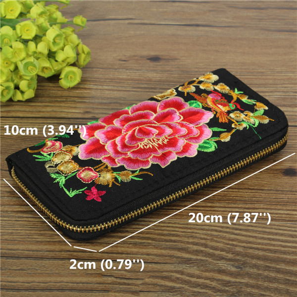 Size Of Embroidered Peony Wallet