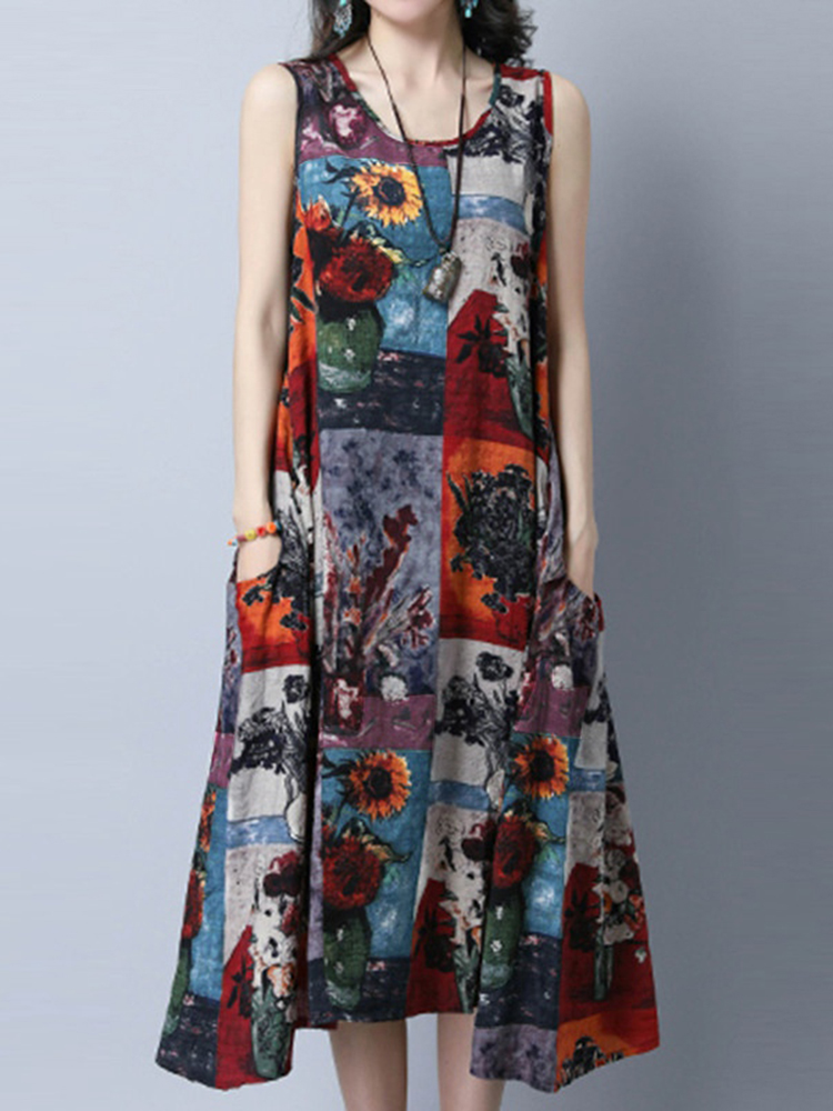 Vintage Women Paintings Printed O-Neck Sleeveless Dress With Pockets