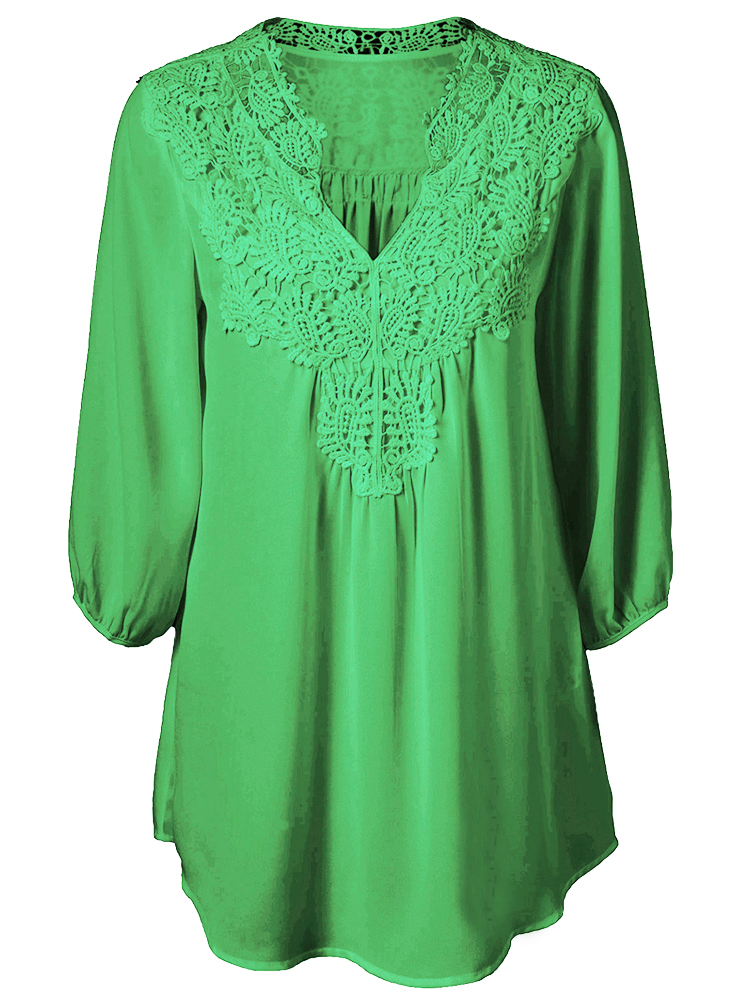 Casual Chiffon Lace Patchwork Long Sleeve Loose Women T-shirt Blouse