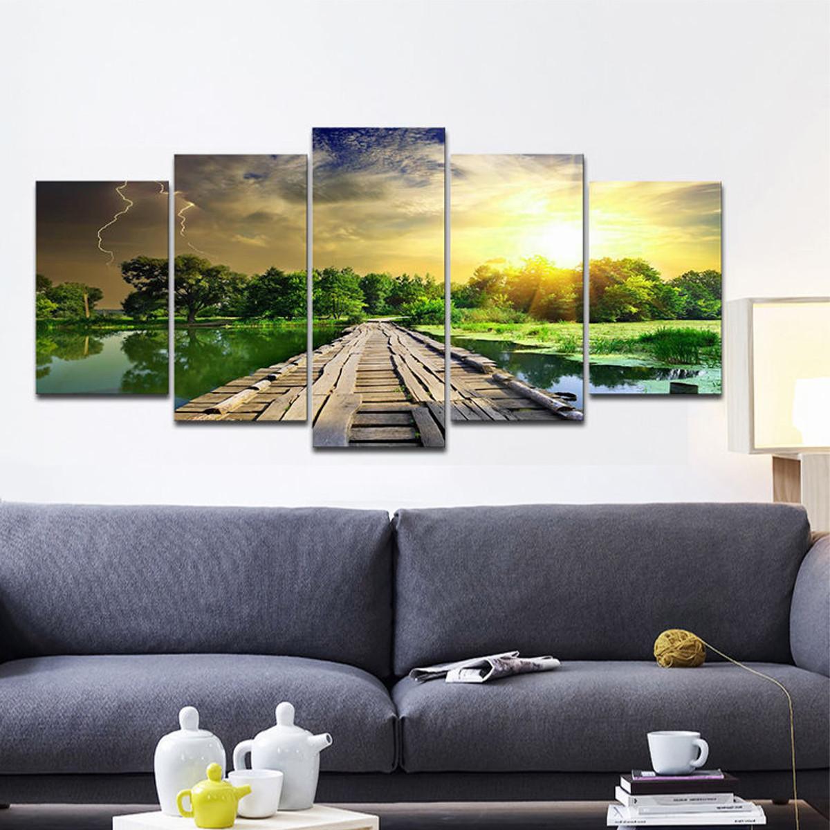 Lake Home Wall Decor : Pcs modern print art lake landscape end pm