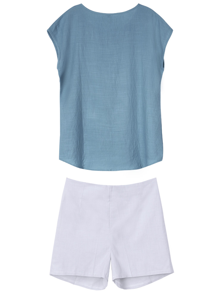 Casual Women Solid Short Sleeve T-shirt Shorts Two-piece Tracksuit