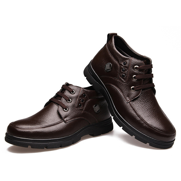 US Size 6.5-12 Warm Wool Lining Round Toe Lace Up High Top Boots For Men