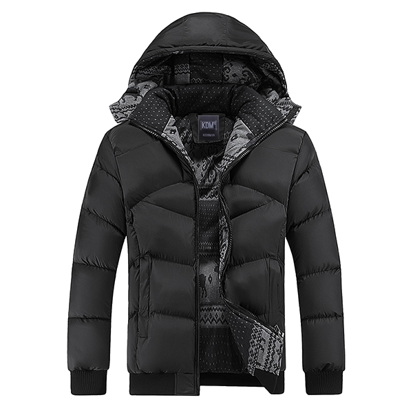 Mens Solid Color Winter Thick Warm Windproof Hooded Detachtable Cotton Coat