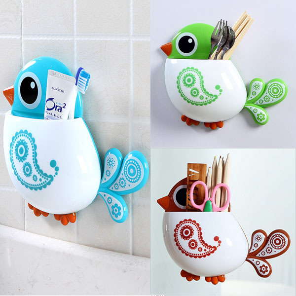 Cartoon Cute Bird Suction Cup Toothbrush toothpaste Holder Bath Organizer