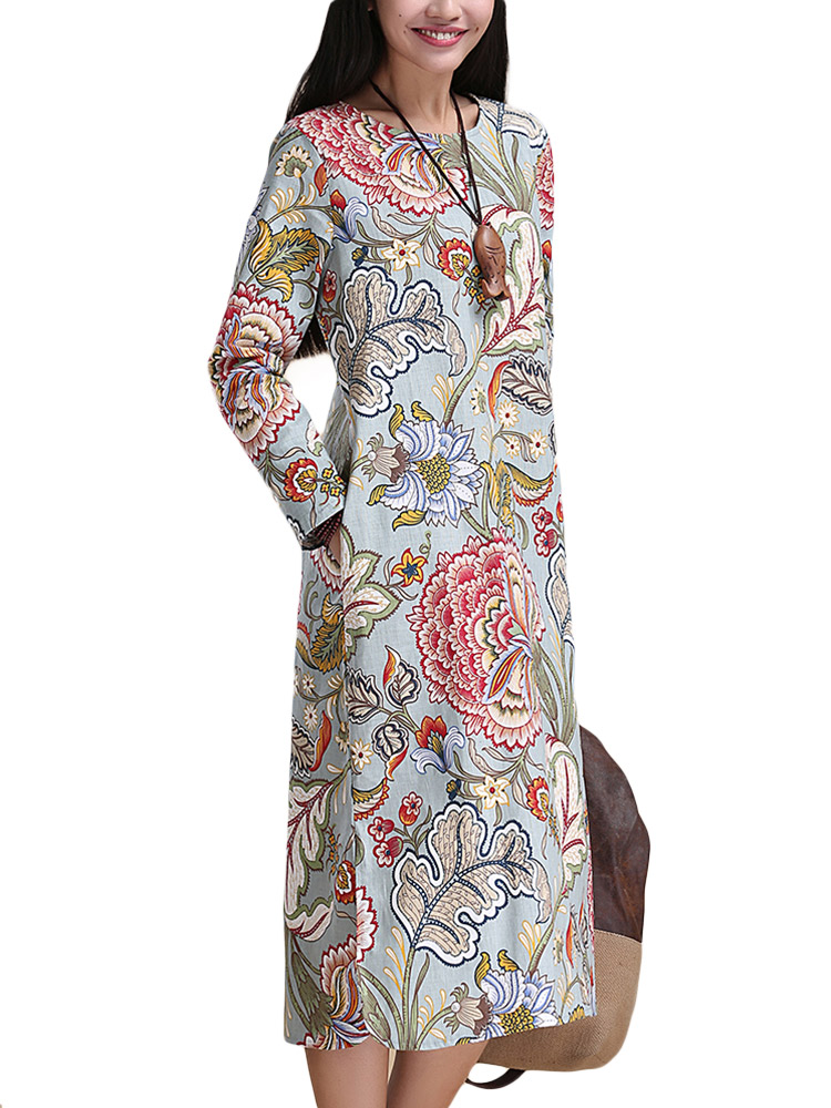Ethnic Linen Women Floral Dress