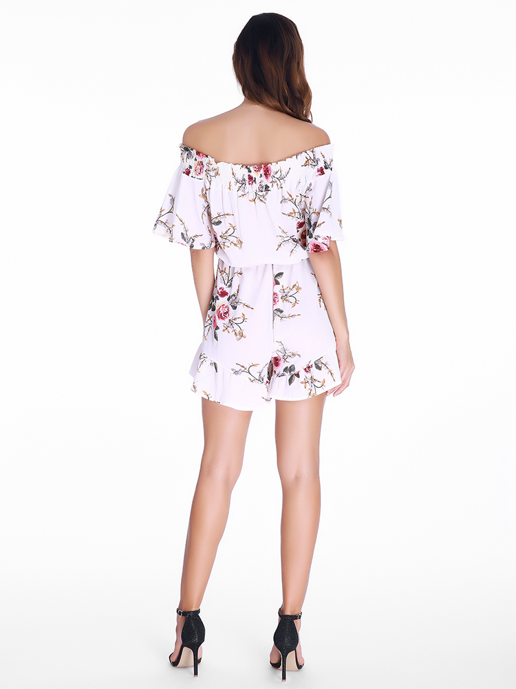 Sexy Women Off-The-Shoulder Ruffle Flowers Printed Short Sleeve Playsuits