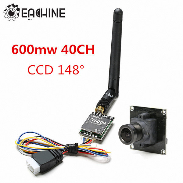 Eachine 800TVL CCD 148° FPV Camera ET600R 5.8G 40CH 600mW Mini AV Transmitter new arrival eachine 700tvl 600mw 1 3 cmos fpv 110 148 degree camera w 32ch transmission for fpv system