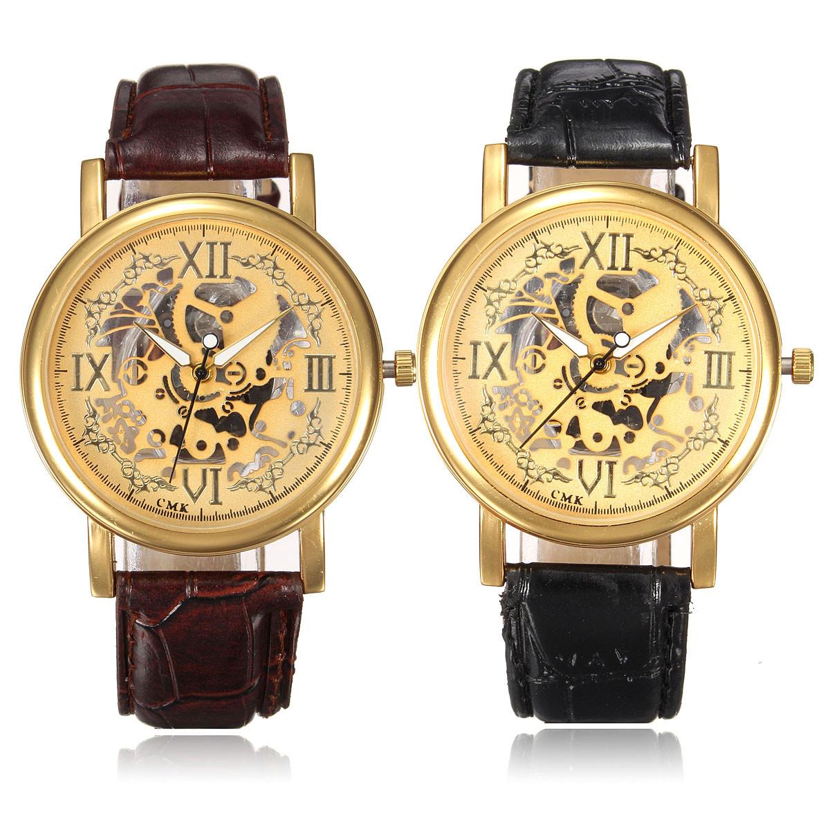 Случайные мужчины женщины прозрачный пу аналоговый кожаный ремешок кварцевые наручные часы