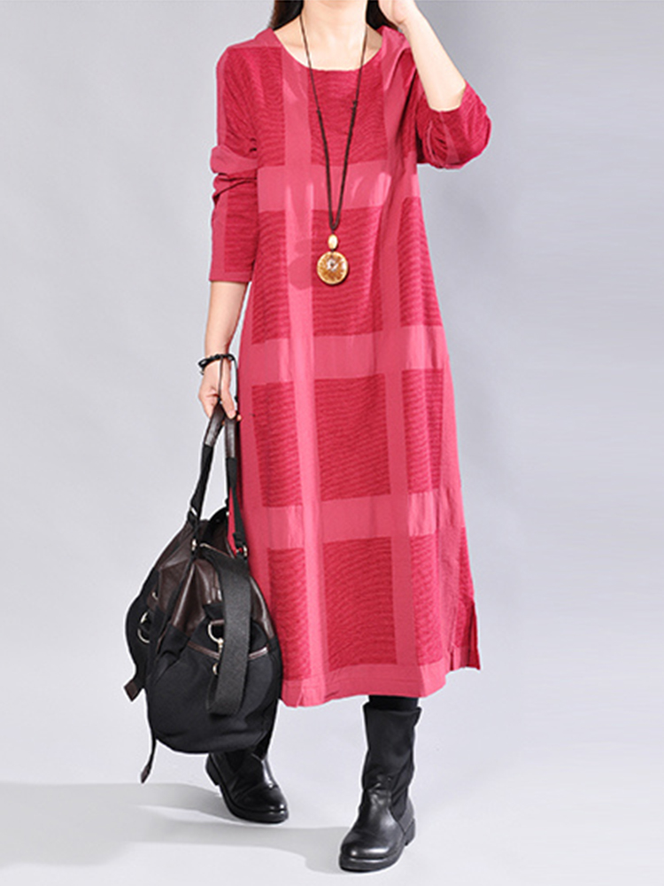 Casual Women Plaid Loose Long Sleeve Dress