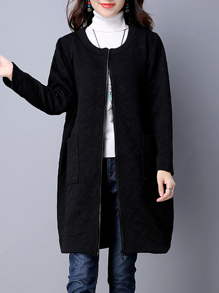 Vintage Thick Loose Solid Zipper Bat Long Sleeve Women Coat