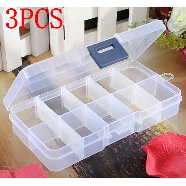 3Pcs Detachable Compartment Empty Storage Case Box 10 Cells For Nail Tip Gems Little Stuff от Banggood INT