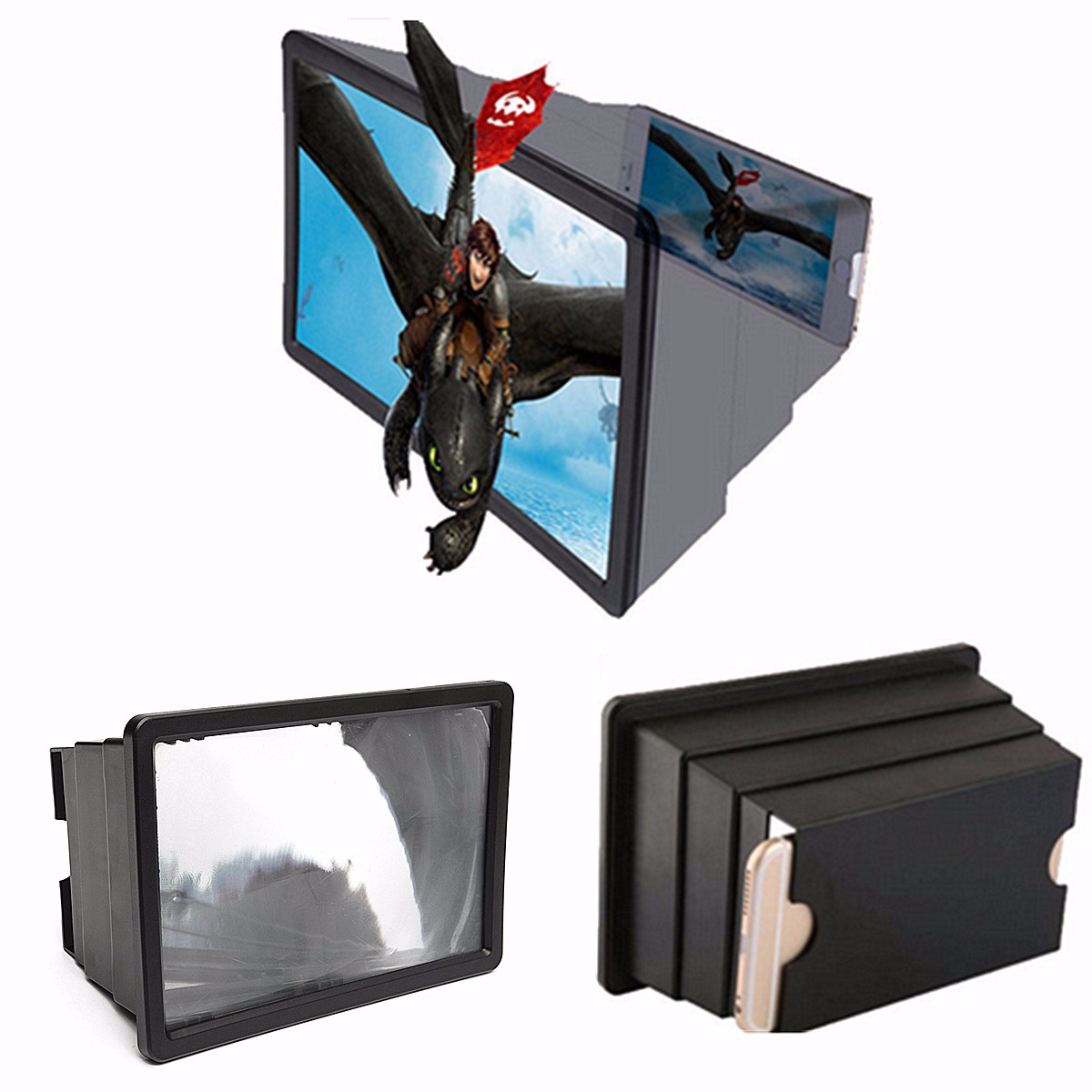 3D HD Foldable Movie Video Amplifier Screen Magnifier Cell Phone Enlarge Stand