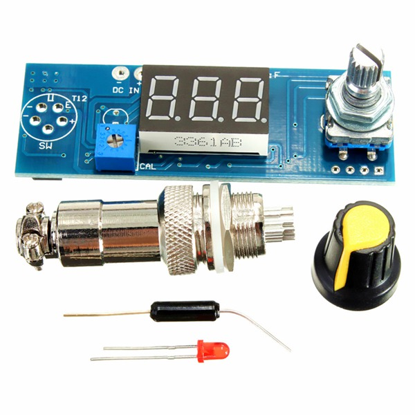 DIY Digital Soldering Iron Station Temperature Controller Board Kit For HAKKO T12 T2 Handle smd soldering practice pcb board kit green