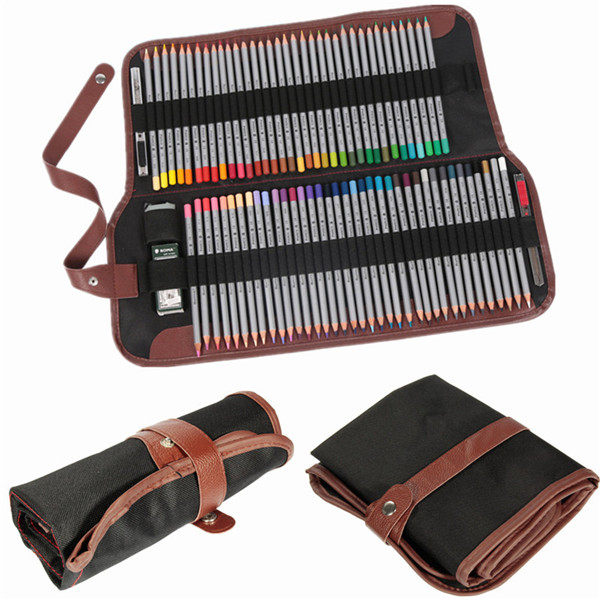 72 Hole Roll-Up Pencils Wrap Case Canvas Leather Sketch  Holder Artist Organizer kicute 72 48 36 hole art sketch drawing pencil pen case storage bag pouch cosmetic zipper box holder colored pencil bag