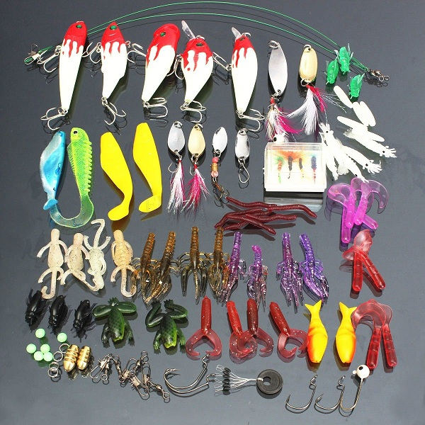 100pcs/lot Kinds of Fishing Lures Hooks Fish Hooks Tackle Minnow Bass Baits Tackle+Box portable 2 layers many compartments visible pvc fishing lure bait hooks fish tackle box accessory storage box case fishing tool