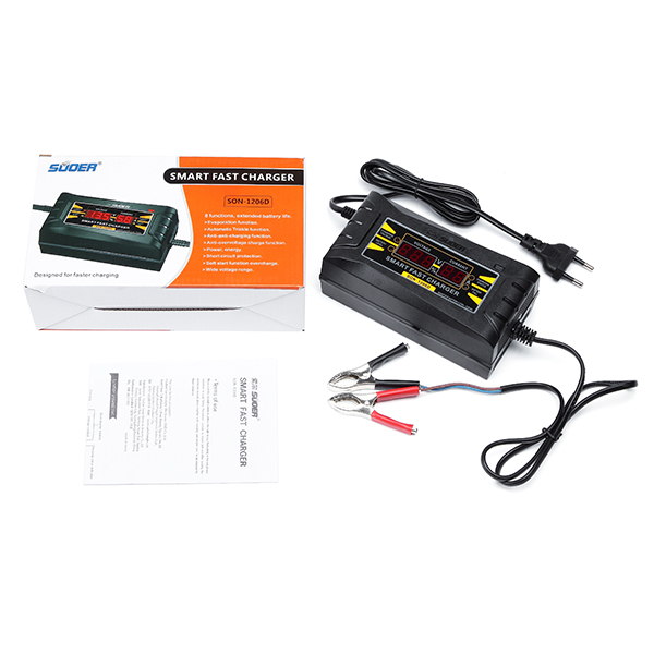 SUOER SON-1206D LED Intelligent Display Charger 6A 12V Car Battery Charger for Lead-acid Batteries