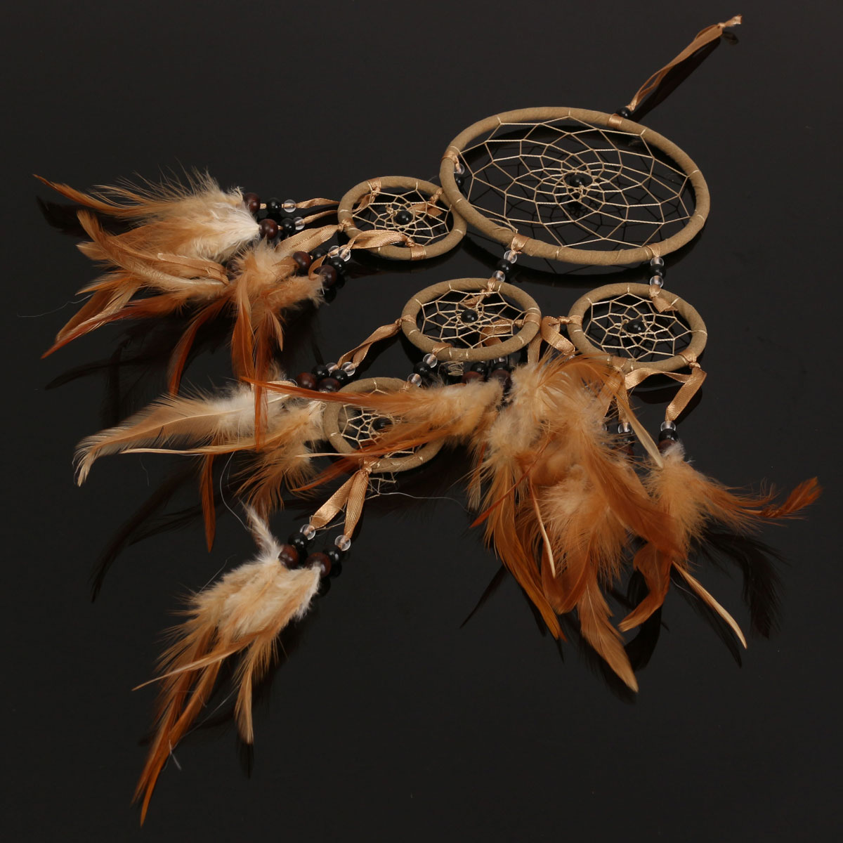 Dream catcher brown feathers dreamcatcher wall window car for Dreamcatcher beads meaning