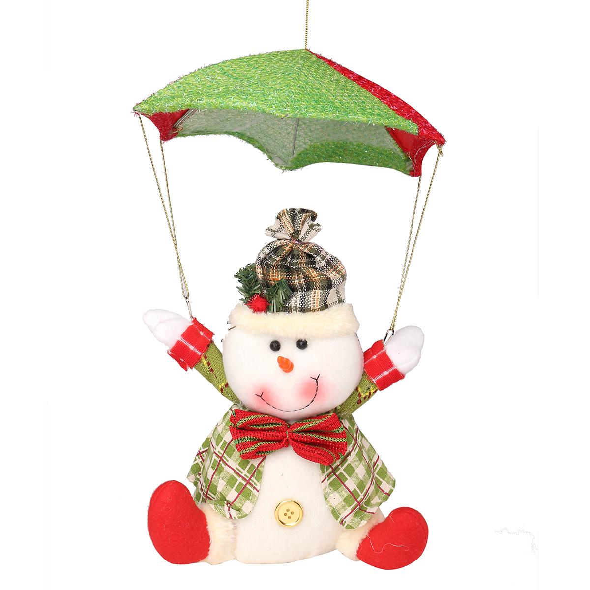 dress ups santa claus snowman in parachute christmas