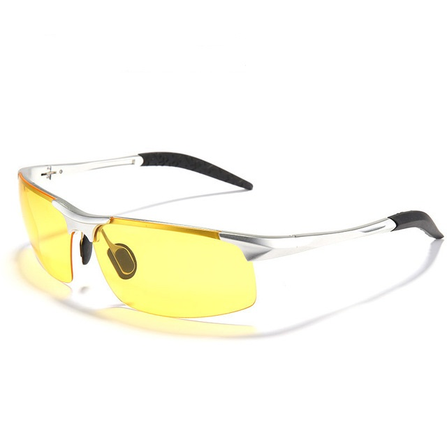 UV400 Men Polarized Sunglasses Yellow Lens Night VISION Driving Fishing Cycling glasses carshiro 3025 uv400 protection polarized resin lens driving night vision glasses yellow