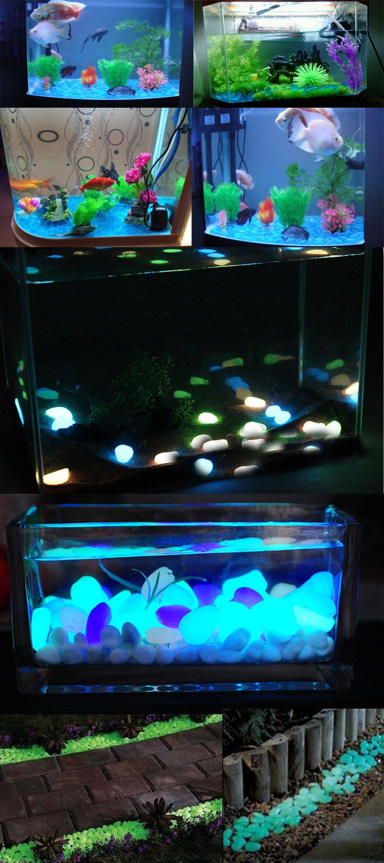 Aquarium Fish Tank Luminous Glowing Stone Aritificial Pebble Stone Aquarium Garden Decoration