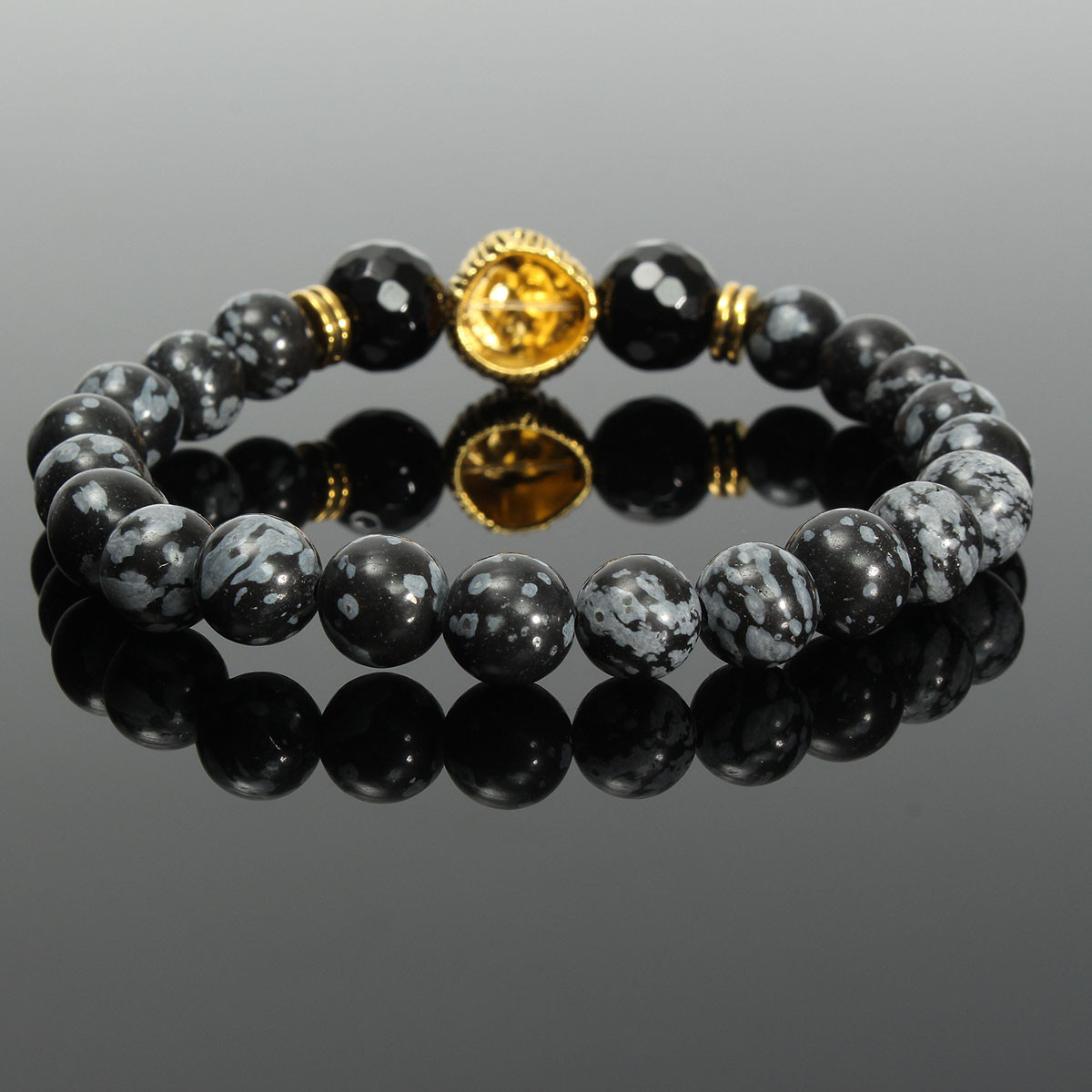 8mm Lion Head Animal Men Bracelet Stretch Natural Stone Jewelry