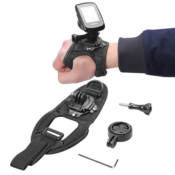 GPS Holder Adapter with 360 Degree Rotation Mount Hand Strap for Garmin Edge Cycle GPS 25 200 500 510 520 800 810 1000