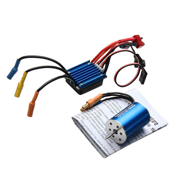 2435 Senseless Brushless 4800KV Motor + 25A ESC For 1/16 18 RC Car 2017 new anet easy assemble 3d printer upgrated reprap prusa i3 3d printer large print size kit diy with filament 16gb sd card