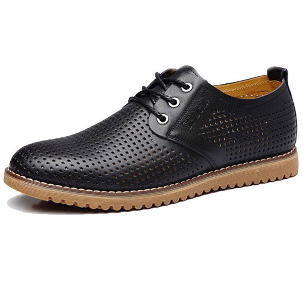 Big Size New Men Breathable Casual Hollow Out Leather  Shoes