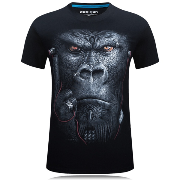Plus Size S-4XL Summer 3D Animal Pattern Printing Men T-shirt Personality Short Tees
