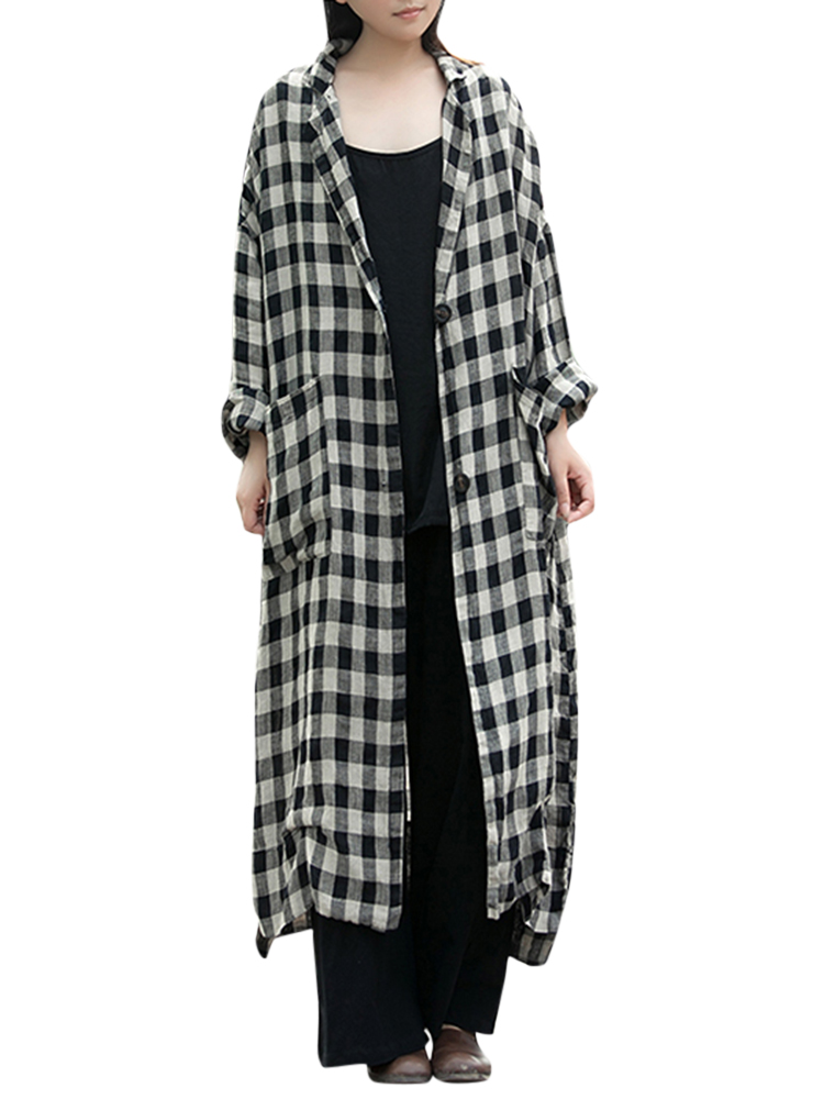 Women Plaid Lapel Button Down Shirt Dress Long Maxi Coat Outwear