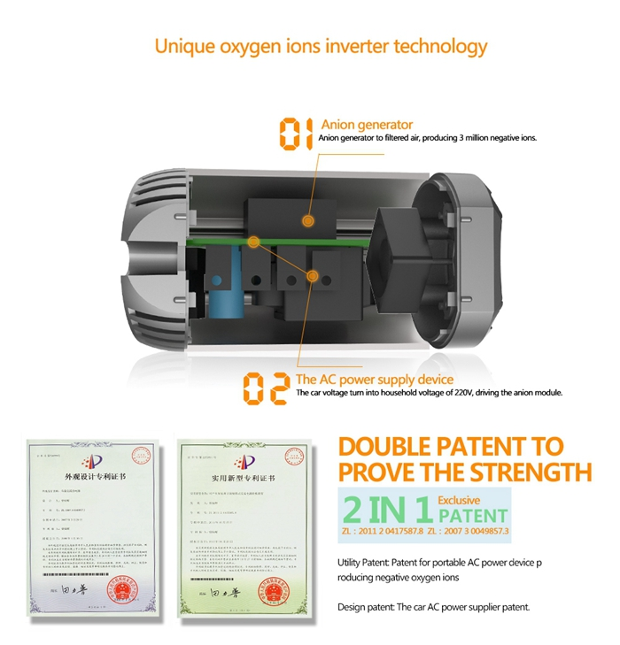 TO-200 Car Vehicle Anoin Power Inverter AC 220V USB 2.1A Charger Air purification 3 in 1