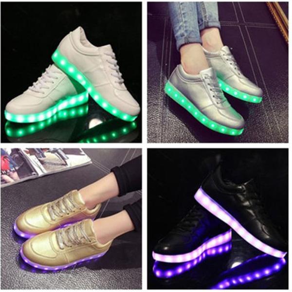 Unisex USB LED Light Lace Up Luminous Couple Shoes Sportswear Sneaker Casual Shoes