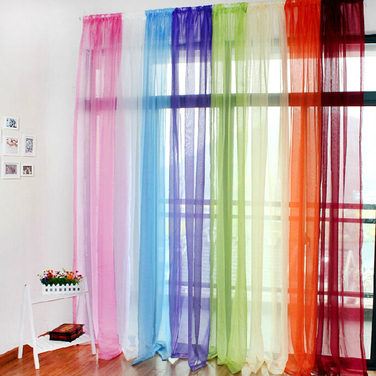Translucent sheer tulle voile organdy curtain drape for Cortinas infantiles baratas