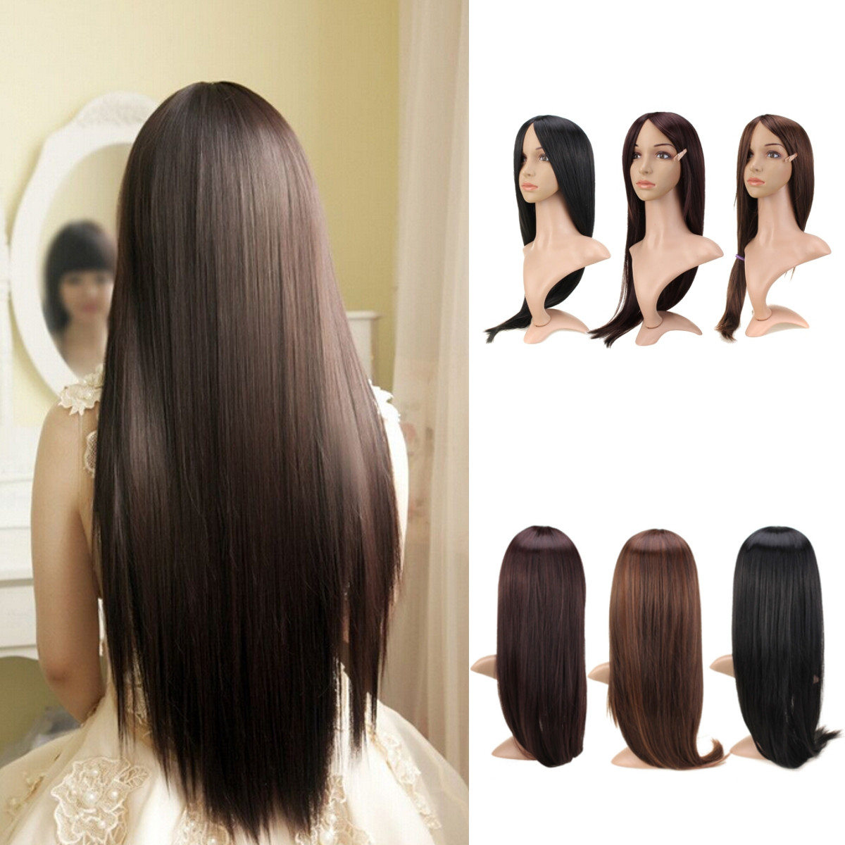 Womens Girls Cosplay Party Long Straight Hair Piece Full