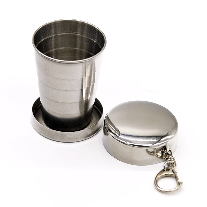 Honana HN-POC25 Stainless Steel Portable Outdoor Travel Camping Folding Collapsible Metal Water Cup