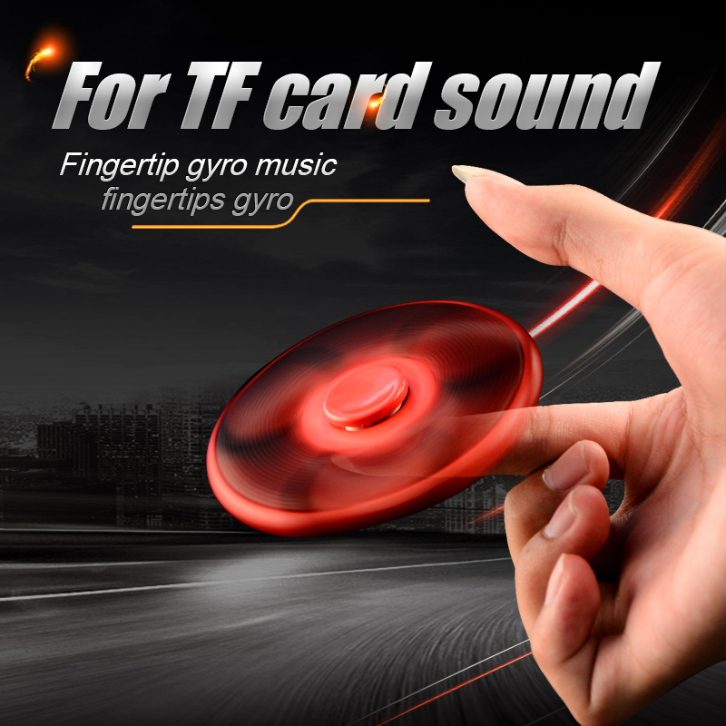 LED Flashing Word Fidget Hand Finger Spinner Stress Reducer TF Card Gyro Bluetooth Speaker