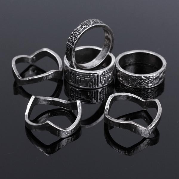 Vintage Punk Knuckle Rings, Carved Totem Alloy Rings