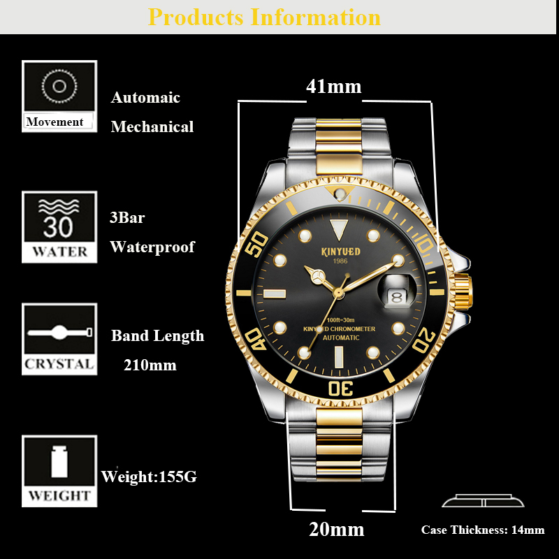 KINYUED J027 Business Calendar Automatic Mechanical Watches